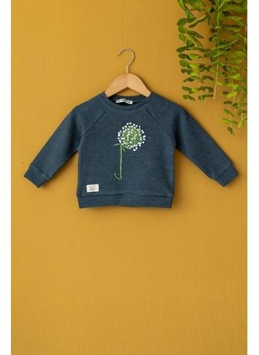 Cigit Tomurcuklu Çiçek Nakışlı Sweatshirt Antrasit